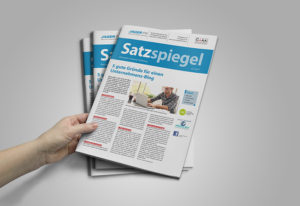 """Titelseite des Kundenmagazins """"Satzspiegel"""""""