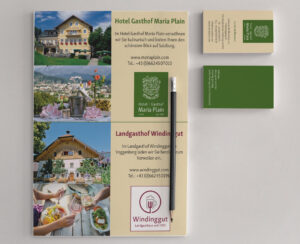 Flyer und Visitenkarten des Hotel Gasthof Maria Plain